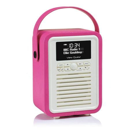 View Quest Retro Mini DAB+ Radio & Bluetooth Speaker, Pink