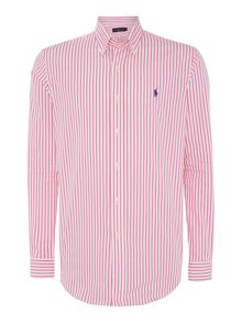 Long sleeve custom fit stripe poplin shirt