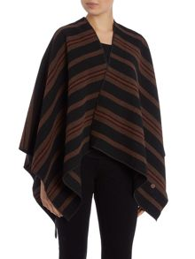 Striped poncho in burnt henna