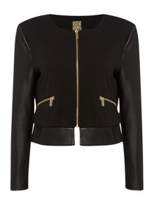 Biba Faux leather & stretch easy zip up jacket