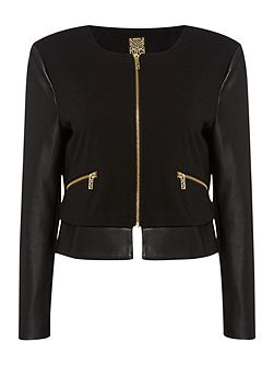 Biba Faux leather & stretch easy zip up