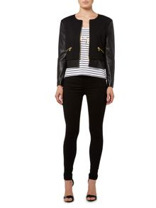Faux leather & stretch easy zip up jacket