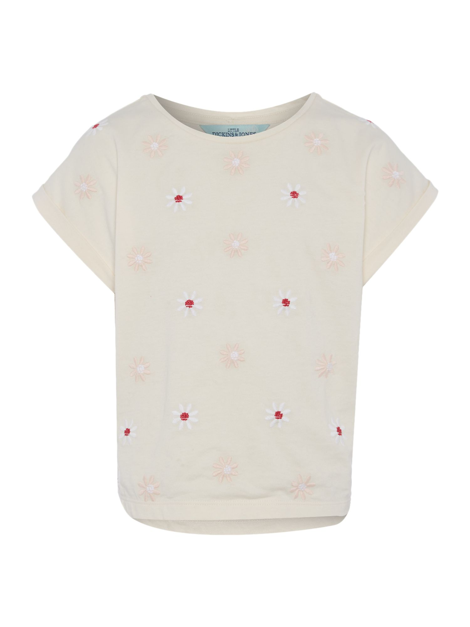 Little Dickins & Jones Little Dickins & Jones Girls Sequin Daisy tee, Pale Pink