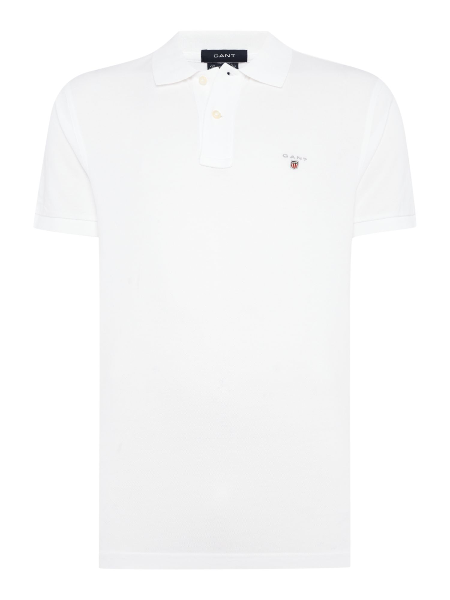 Men's Gant Pique Short Sleeve Polo Shirt, White