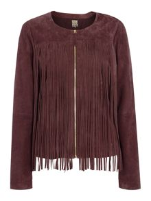 Biba Real suede tassel zip up jacket