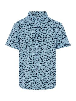 Boys Shark print short sleeved shirt