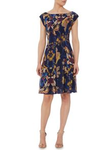 Biba Printed tuck detail fit & flare dress