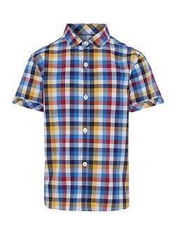 Boys Multi check short sleeved shirt
