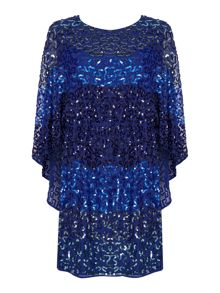Biba Fully embellished cape back dress