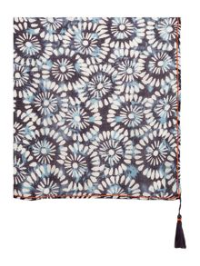 Dickins & Jones Circle Print Beaded Tassle Scarf