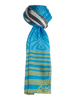 Biba Stripe and logo silk scarf