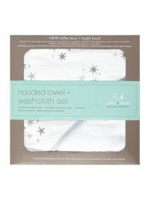Aden & Anais Babys hooded towel and mit set with giftbox