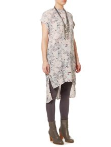 Gray & Willow Field flowers printed side split tunic
