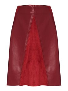 Biba PU and suedette a line skirt