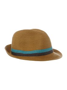 Ted Baker Madhatt straw trilby contrast band hat