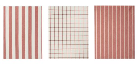 Gray & Willow Red stripe set of 3 tea towels