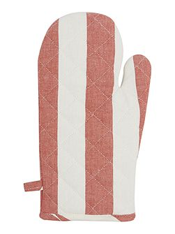 Red stripe single oven glove
