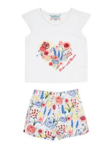 Little Dickins & Jones Girls Floral pjs set