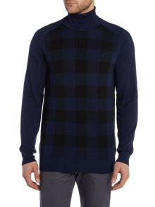 Roll Neck Block Check Knitted Jumper
