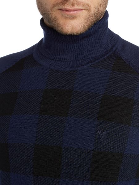 Lyle and Scott Roll Neck Block Check Knitted Jumper