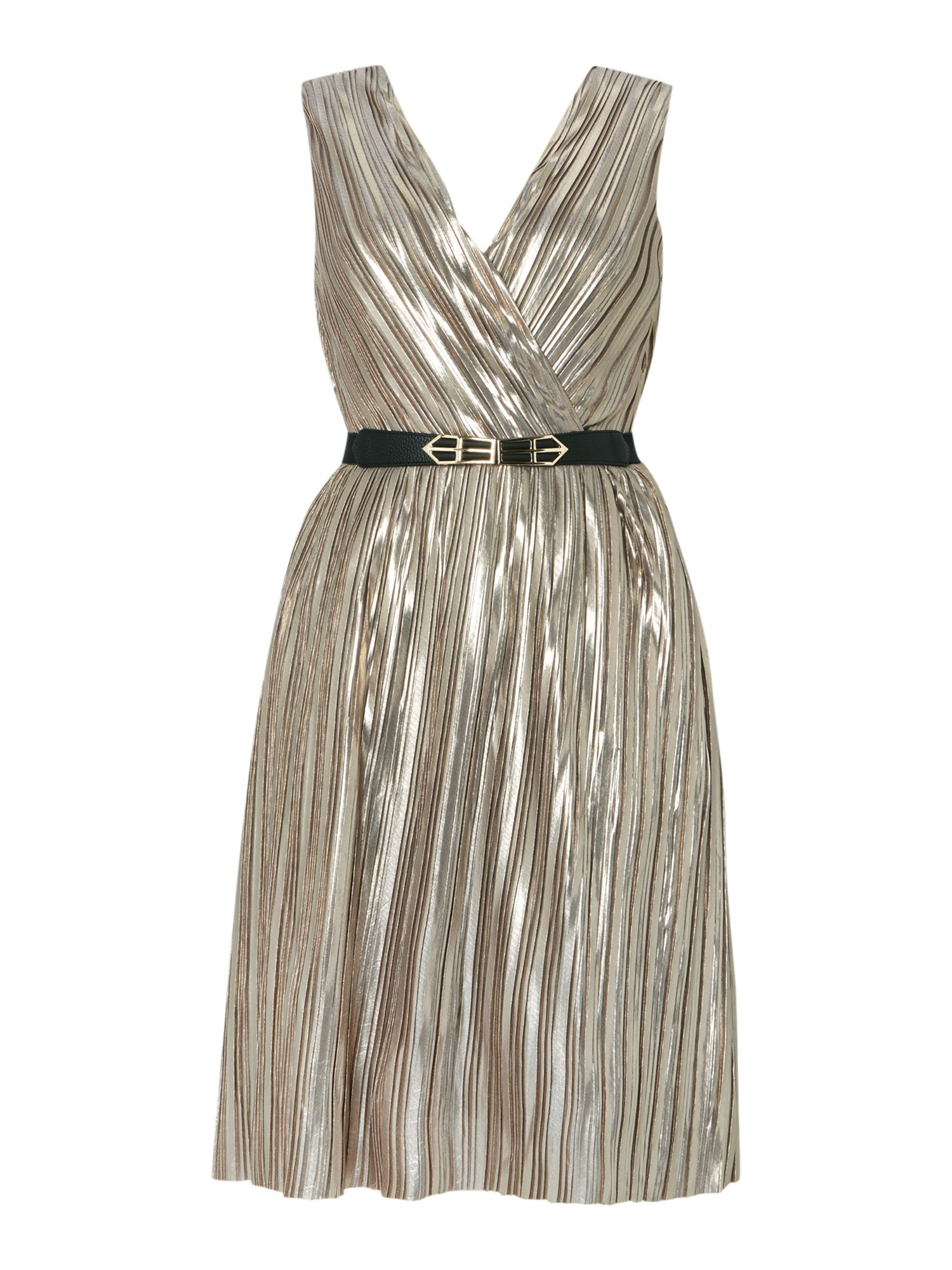 Little Mistress Sleeveless V Neck Belted Fit And Flare Dress, Silver Metallic