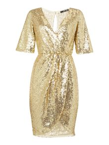 3/4 Sleeve V Neck All Over Sequin Dress