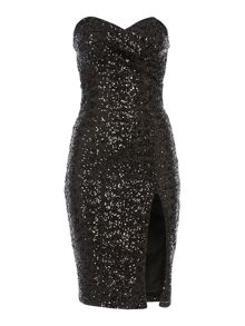 Strapless Sweetheart Neck All Over Sequin Dress