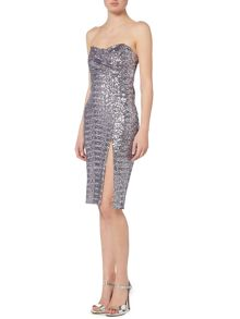 tfnc Strapless Sweetheart Neck All Over Sequin Dress