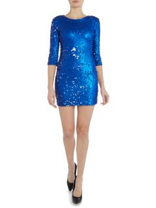 tfnc Long Sleeved Crew Neck All Over Sequin Dress
