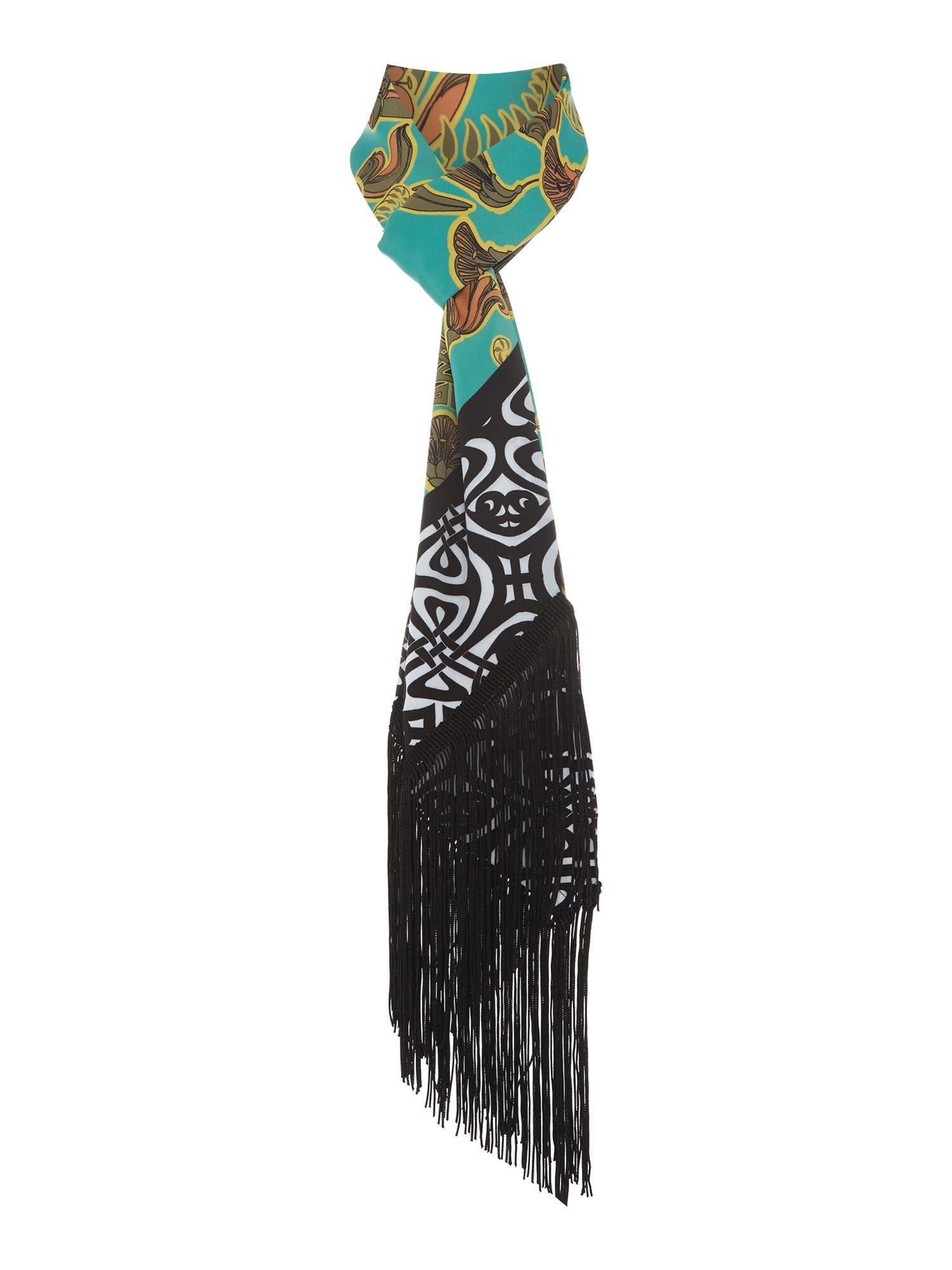 Vintage Scarves- New in the 1920s to 1960s Styles Biba Printed Skinny Tassle Scarf £35.00 AT vintagedancer.com