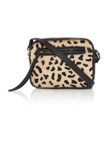 Village England Chelmorton black and leopard small cross body bag