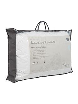 Softened feather mattress topper