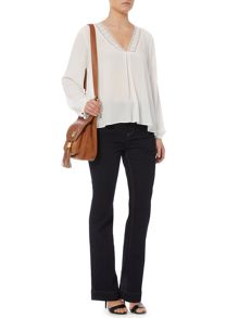 Biba Lace trim v neck viscose blouse