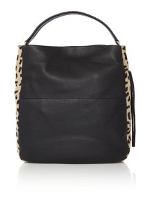 Village England Turville black and leopard hobo bag