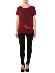 Leopard heart print short sleeve t-shirt