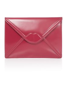 Lulu Guinness Catherine purple enverlope clutch bag