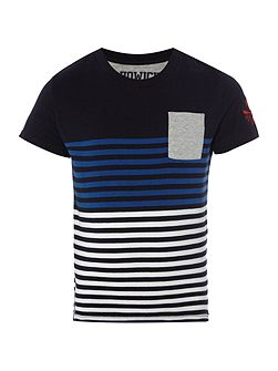 Boys block stripe t-shirt with pocket