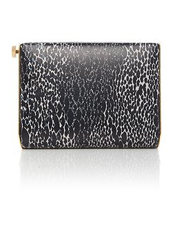 Daphne black snake print clutch bag
