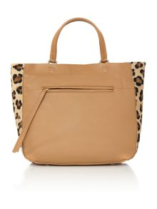 Edenfield tan and leopard zip tote bag