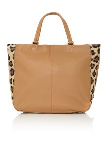Village England Edenfield tan and leopard zip tote bag