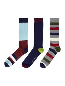 Ted Baker Looknow stripe and plain sock box set