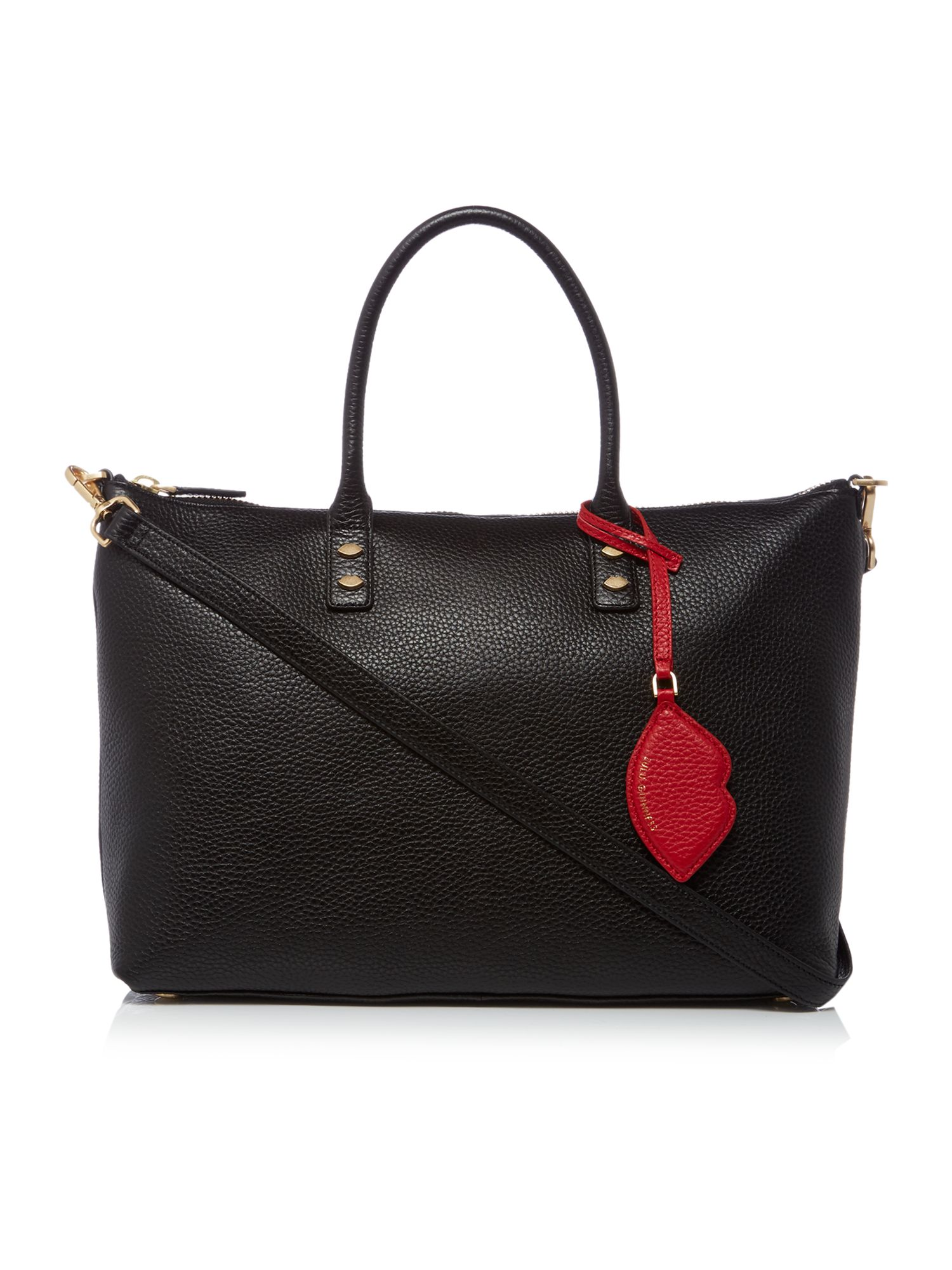 Lulu Guinness Frances Pebble Tote Bag with Lip Charm, Black