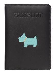 Radley Heritage dog black passport cover
