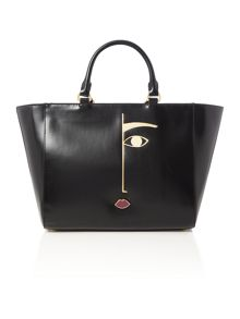 Lulu Guinness Cesca dora face medium black tote bag
