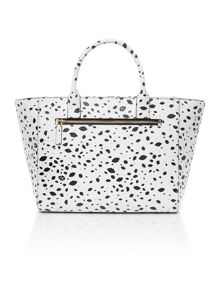 Lulu Guinness Cesca spot print medium monochrome tote bag