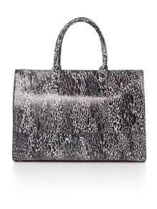 Lulu Guinness Daphne black snake print large tote bag