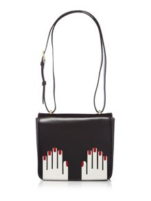 Lulu Guinness Marcie icon hands black cross body bag