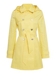 Belted trench with removeable hood