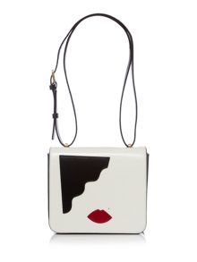 Marcie icon abstract face white cross body bag