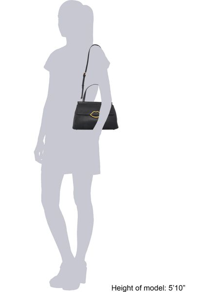 Lulu Guinness Gertie pebble black large shoulder bag
